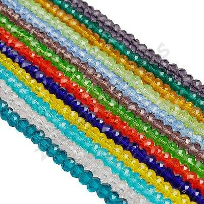 Czech Colorful Rondelle Bicone Crystal Glass Spacer Loose Beads Charms 4 6 8 mm