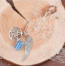 FREE GIFT BAG Silver Plated Angel Wings Pentacle Pentagram Crysta Necklace Chain