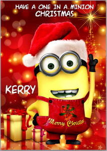 Minion Christmas.Details About Minion Christmas Card A5 Personalised With Own Words