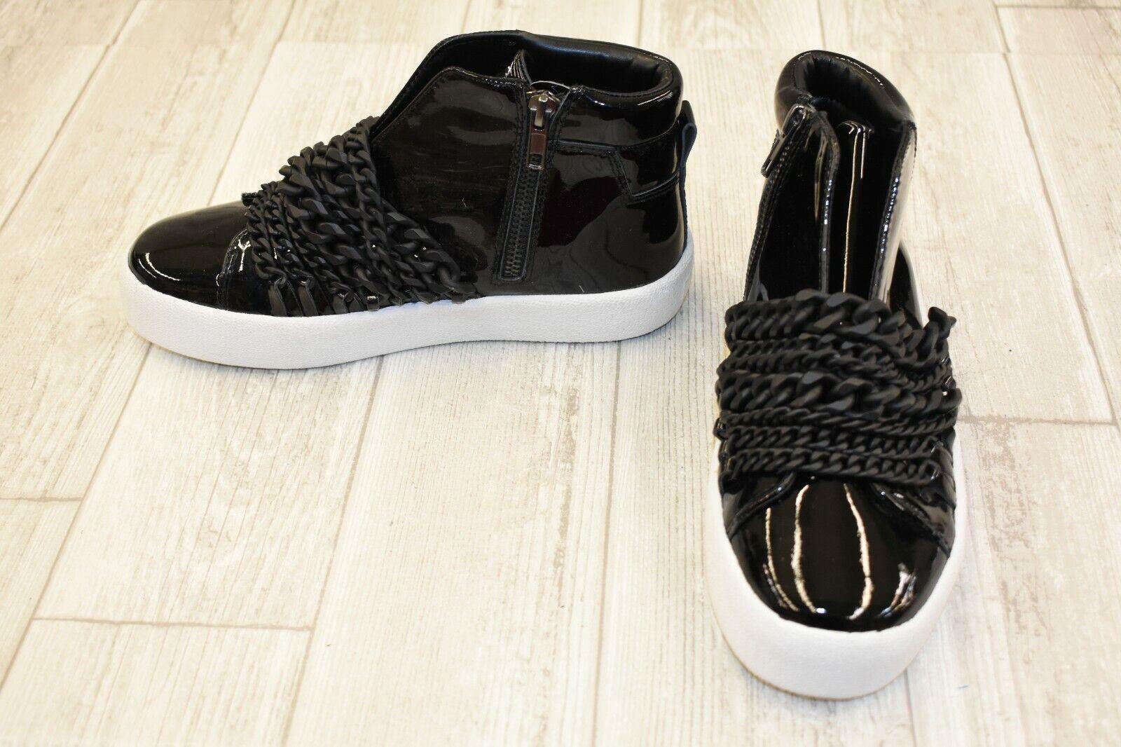 Kendall + Kylie Duke Cuir Verni Laceless Baskets, Femme Taille 6.5 m, noir