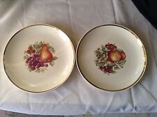 Sovereign Potters earthenware 22K Gold Canada (2) collector plate fruit gold rim