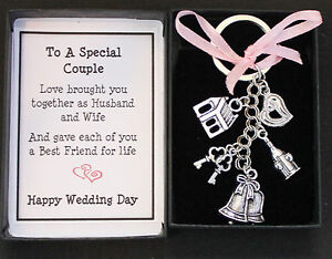 Image Is Loading Wedding Day Gift Keyring Keepsake For Bride And