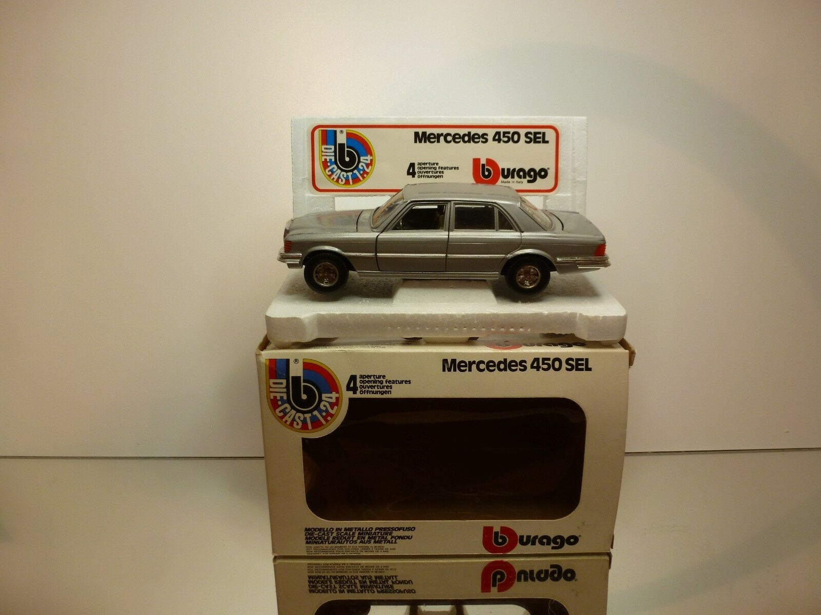 BBURAGO 0122 MERCEDES BENZ 450 SEL - plata 1 1 1 24 - GOOD CONDITION IN BOX a73ddd