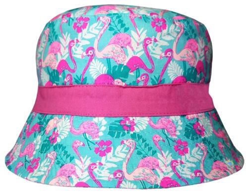 Girls Bush Hat Tropical Flowers /& Flamingos Cotton Summer Sun Bucket Cap New