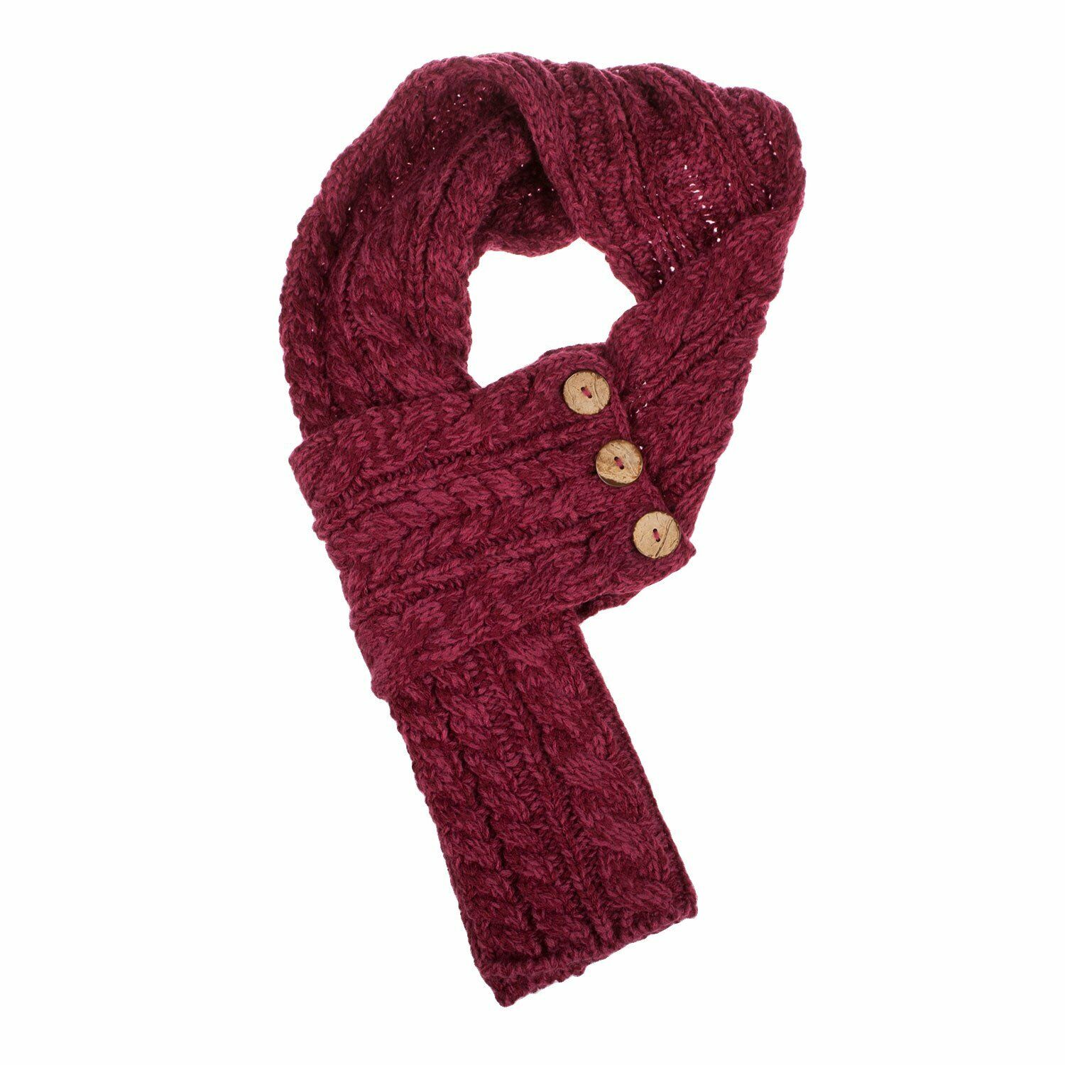 Aran Traditions Raspberry Acrylic Cable Knit Small Wrap Scarf