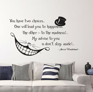 Alice In Wonderland Quote Wall Vinyl Decals Cheshire Cat Bedroom