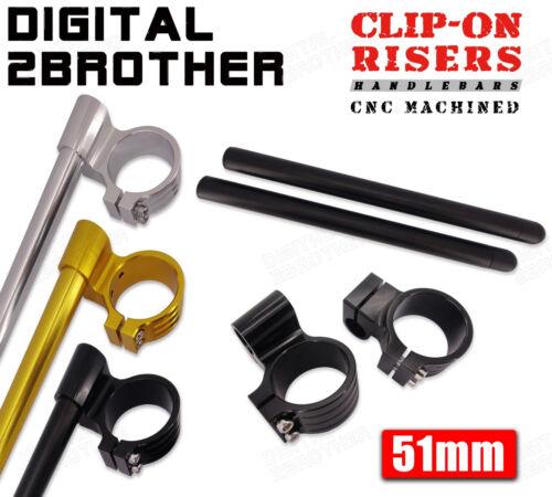 """For 51mm Clip-On Forks Universal Motorcycle 1/"""" Raised Riser Clipons Handlebars"""
