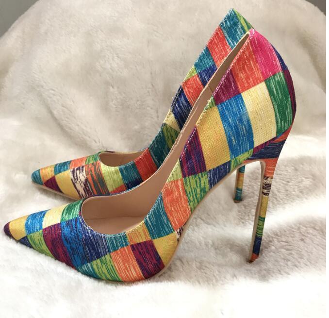 US4-12 Women Pointed Toe Plaid Rainbow Colors Low Top Stilettos Shoes Pump