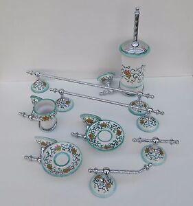 Accessori Per Bagno In Ceramica.Arredo Bagno 8pz In Ottone Cromato E Ceramica Di Vietri Decorate A Mano Verde Ts Ebay