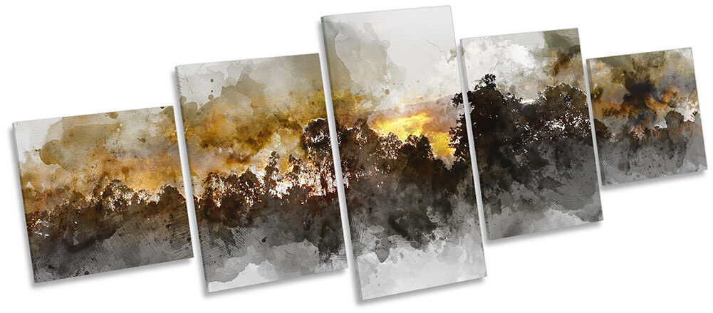 Abstract Tree Sunset Repro Framed CANVAS PRINT Five Panel Wall Art
