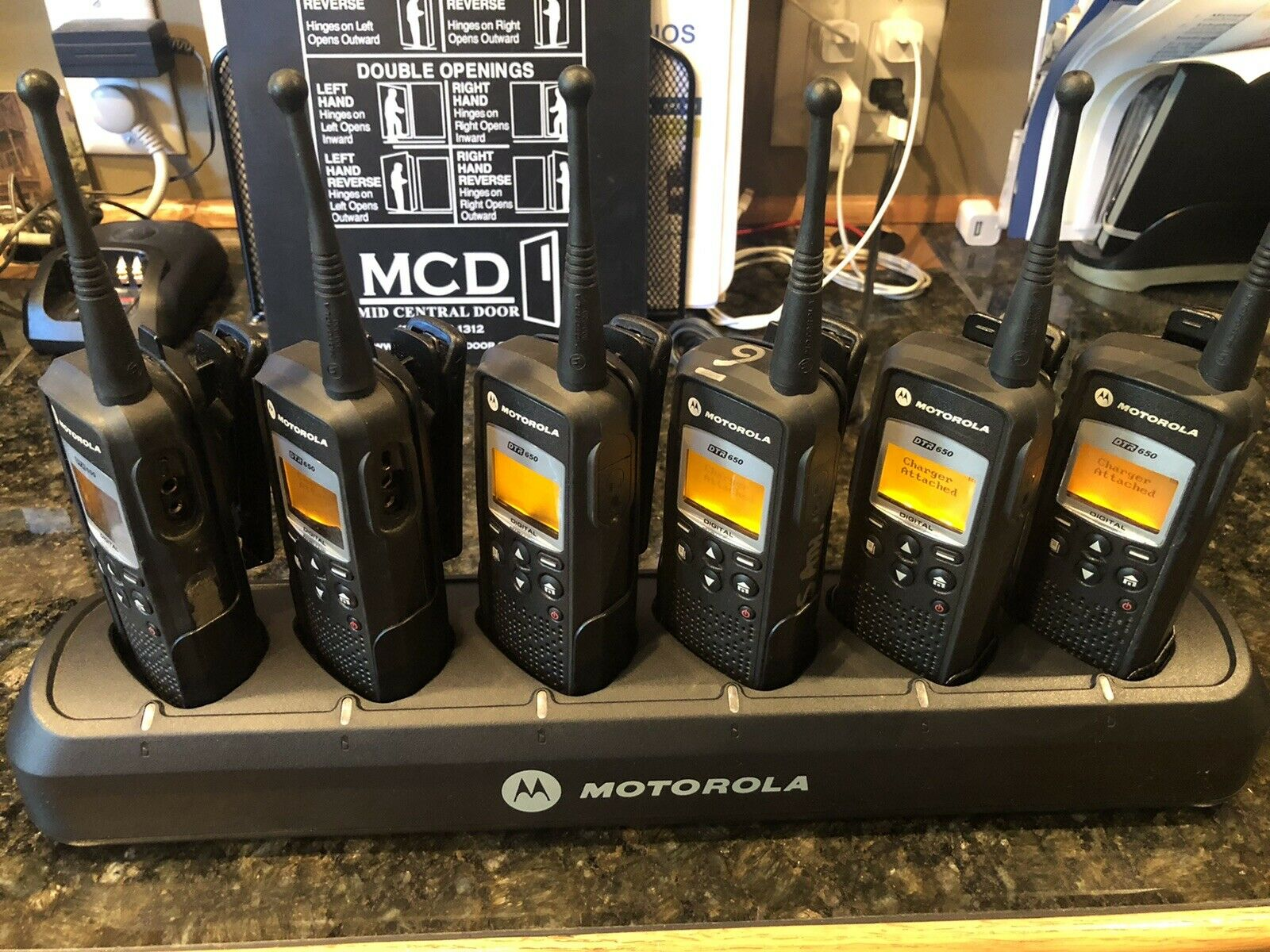 6 Motorola DTR650 Digital Portables with Accessories. Available Now for 659.00