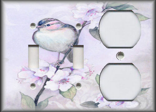Song Bird Flowers Shabby Chic Home Decor Purple Metal Light Switch Plate Cover