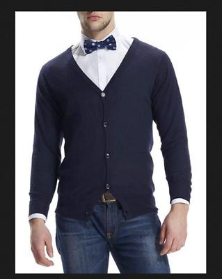 100% Cashmere Da Uomo Navy Blue Cardigan/maglione Pullover Taglia Small S Scacchi London-mostra Il Titolo Originale