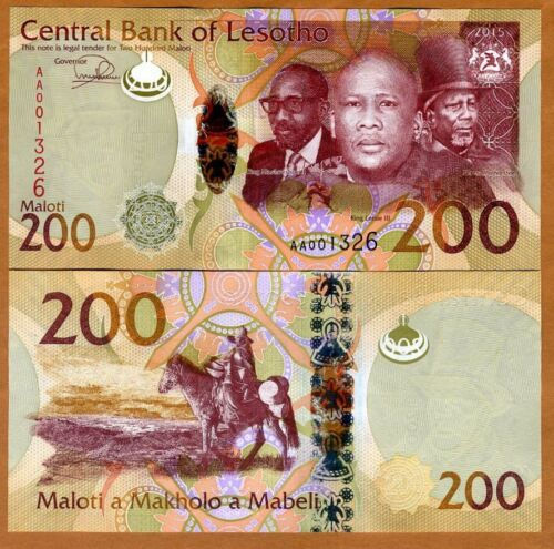 2016 2015 P-New Lesotho Hybrid Polymer Unc Africa 200 Maloti