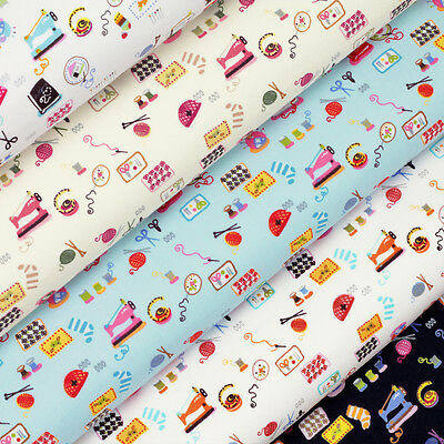 Cotton Fabric FQ. Measure Tape Scissor Needle Thread & Sewing Machine Craft VK34