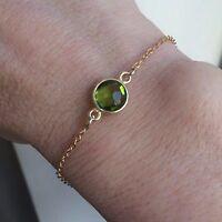 Designer 18k Gold Fill Peridot Bracelet Dainty Handmade Jewellery Jewelry Gift