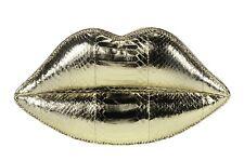 Genuine Lulu Guinness Acolchado Labios firma Embrague Piel De Serpiente Oro Metálico £ 325