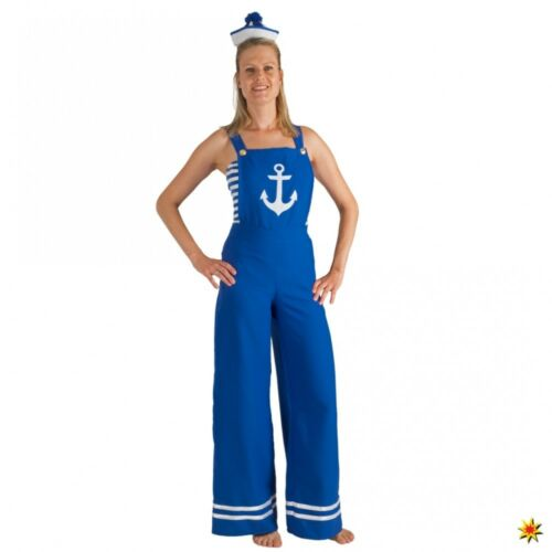 Kostüm Matrosin Gr 36-46 Latzhose blau Top Fasching Seefahrerin Pin Up Girl