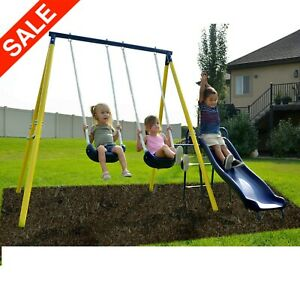 Details About Metal Swing Set Kids Playground Slide Outdoor Backyard Space Saver Playset