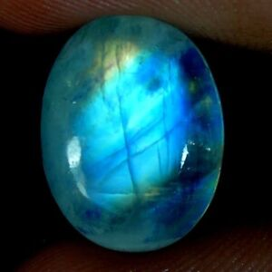 100-Natural-Blue-Fire-Rainbow-Moonstone-Oval-Pear-Fancy-Cabochon-Gemstone-J16