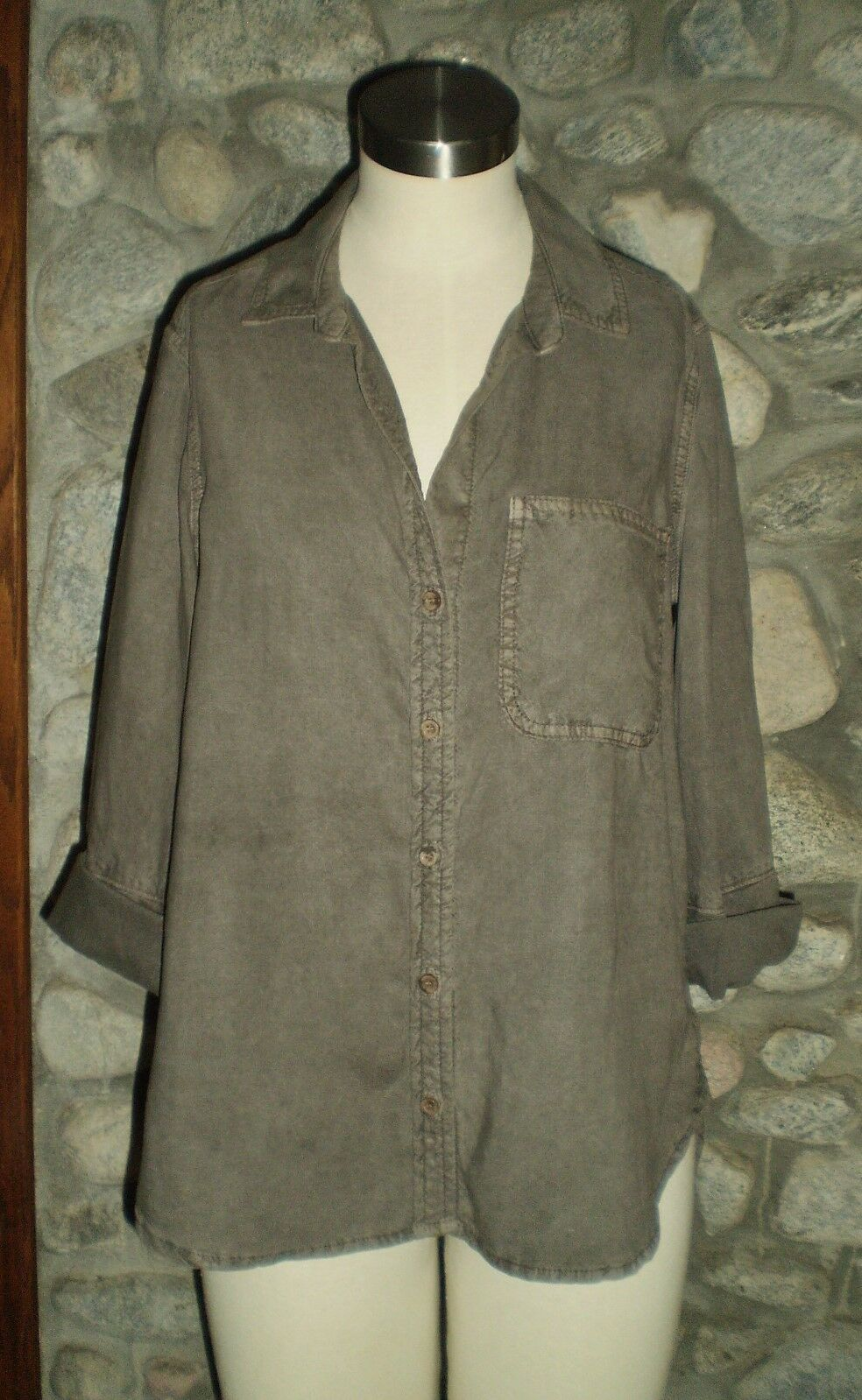 BELLA DAHL 3 4 Sleeve Button Front SHIRT-Small OLIVE GREEN DRAB Tencel NWT