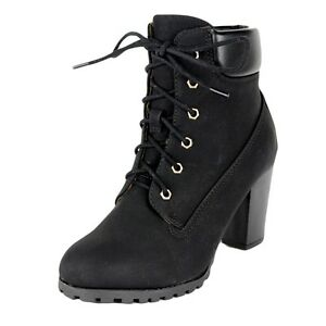 228da8631f343 Womens Faux Leather Lace Up Chunky Stacked Heel Rugged Ankle Boots ...