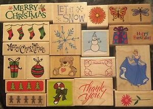 vintage style holiday greeting CM #5 Merry Christmas mounted rubber stamp