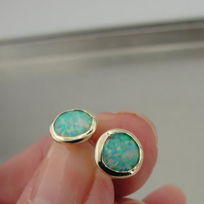 17f5b9cc7 Hadar Designer Handmade 9k gold 8mm Round bluee Opal Stud Earrings (I e