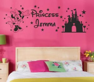 Image Is Loading Minnie Mouse Wall Sticker Personalised PRINCESS Any Name