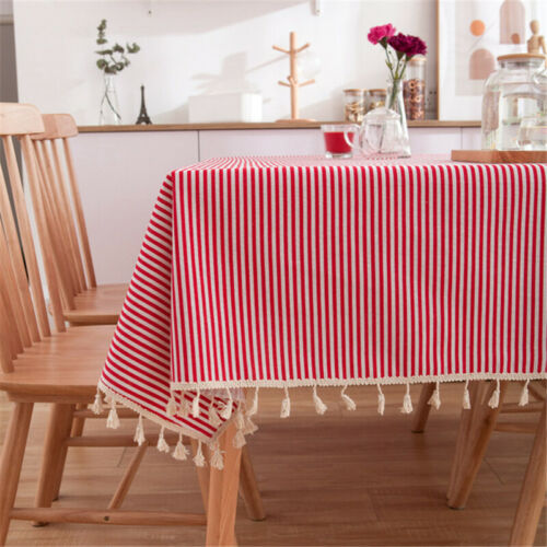 Daisy Stripe Tassel Tablecloth Cotton Linen Dust-Proof Table Cover for Kitchen