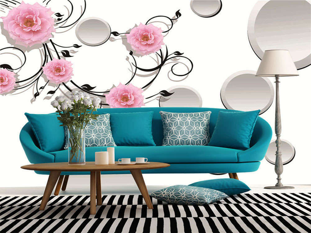 Bloomy Elegant Flowers 3D Full Wall Mural Photo Wallpaper Printing Home Kids Dec