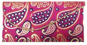 Indian-Purse-Embroidery-Ladies-Envelope-Clutch-Bag-Silk-Shagun-Wedding-SS1941P