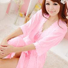 Hot Selling 2pcs Silk Robe Nightgown Nightdress Summer Style Dress Accessories
