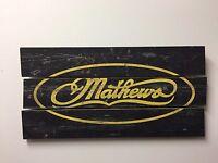 2017 Mathews Archery Rustic Wooden Sign With Mathews Logo Wood Plank Mathews