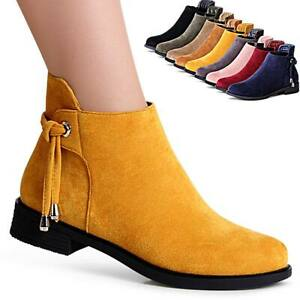 Damen-Velours-Stiefeletten-Halbschuhe-Booties-Ankle-Boots-Stiefel-Trendy