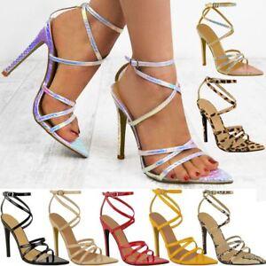 Femme Femmes Barely There Talon Haut Fête Mariée Sandales Bride Cheville Chaussures-afficher Le Titre D'origine Prix De Vente