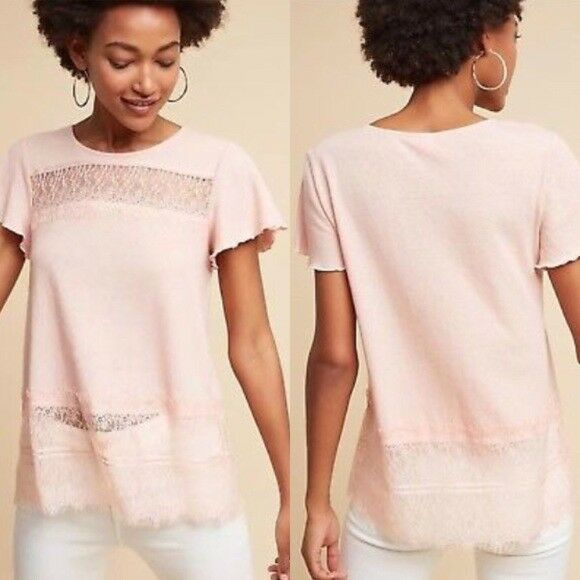Anthropologie Deletta Linen & Lace tee shirt top pink sz small short sleeve