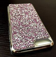 For iPhone 7+ Plus - PURPLE CRYSTAL DIAMOND STUDS HARD TPU RUBBER CASE COVER