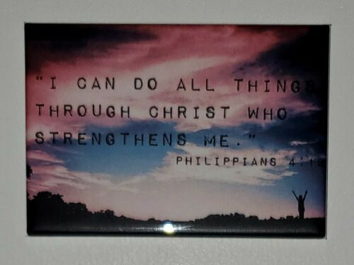 """Do all things through Christ Religious Bible 2/"""" by 3/"""" Refrigerator Magnet"""