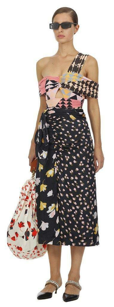 2019 AUTH New Self Portrait Mixed Floral Wrap Midi Skirt  425