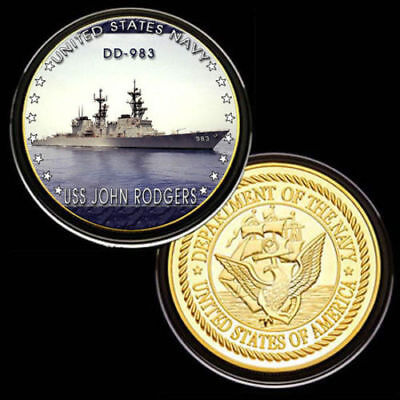United States NavyUSS John Rodgers DD-983Gold Plated Challenge Coin U.S