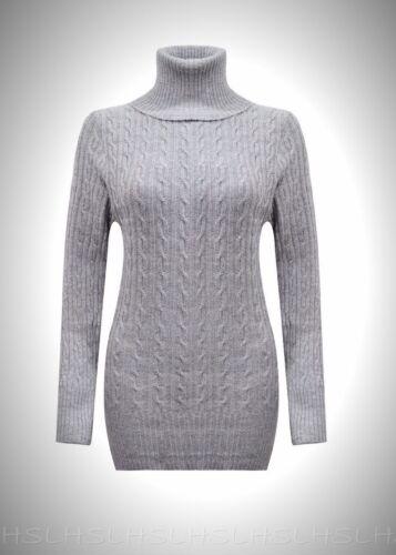 Damen Kabel Grob Gestrickt Polohemd Pulli Mini Pullover Kleid Hoher Kragen Kleid