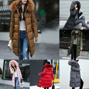 Winter Women's long Down Cotton Lot Parka Fur Collar Hooded Coat Quilted Jacket
