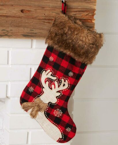 Faux Fur Trimmed Plaid Holiday Stockings Holiday Decoration New Year Christmas