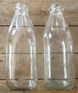 Vintage-Decorative-Clear-Glass-Empty-Milk-Bottles-690g-Set-of-2