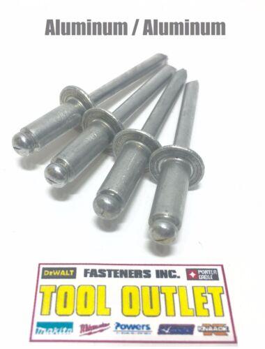 "QTY 1000 x 3//8/"" Grip Range POP Rivets ALL Aluminium 4-6 ABA46 1//8/"" Dia"