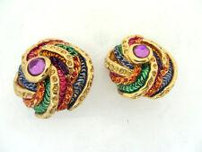 anciennes boucles d'oreille 90's signées JACKY DE G. vintage french earrings