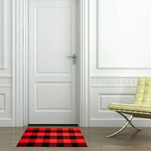 Cotton Buffalo Plaid Rugs Black And Red
