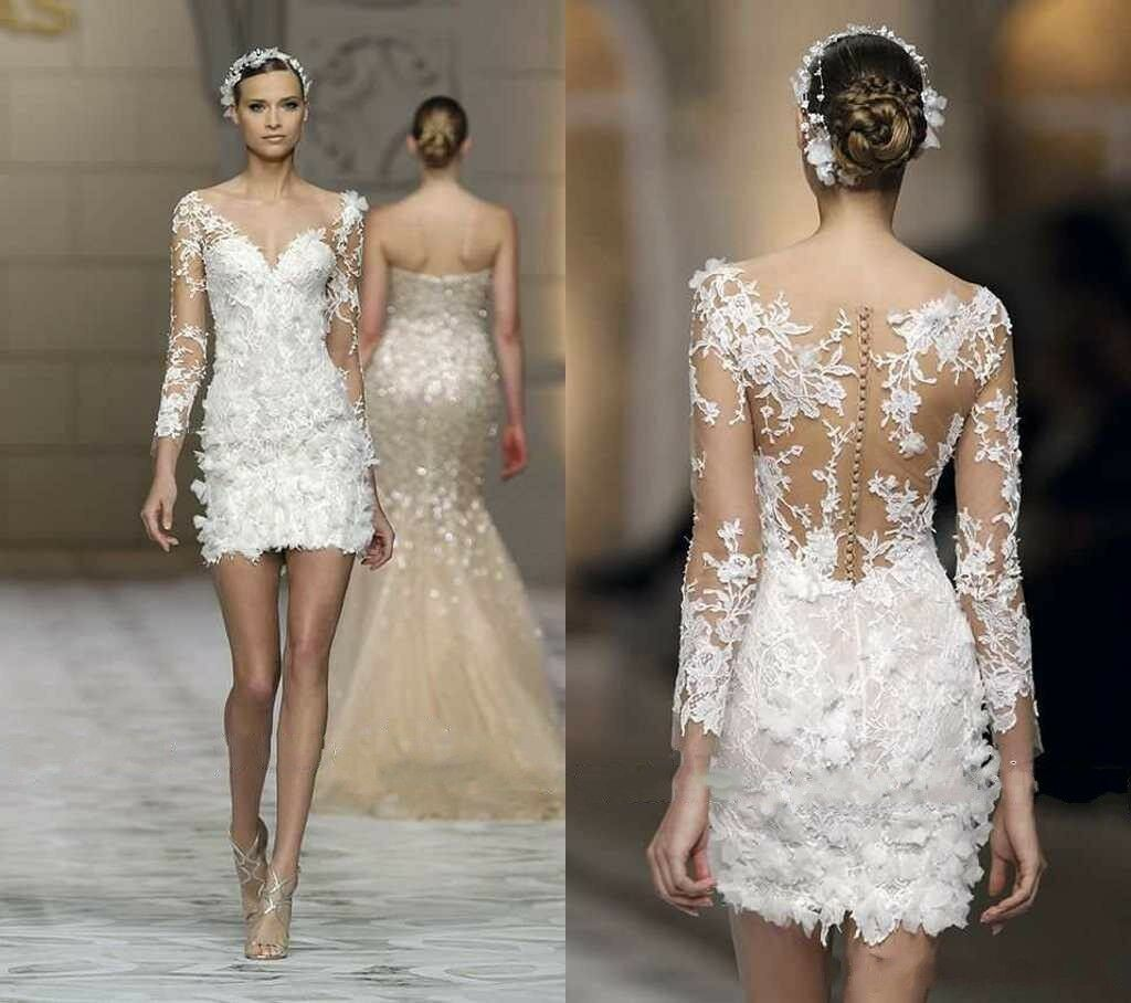 New Women Elegant Short Dresses Long Sleeve Lace Bridal