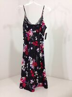 Ambrielle Women's Black Poppie Print Slip Small $44